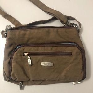 BAGGALLINI Brown nylon slim cross-body bag